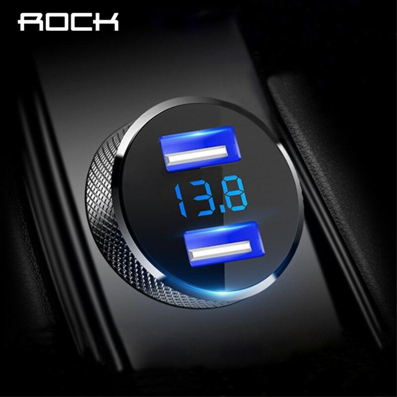 ROCK Affichage Numérique Double USB Voiture Chargeur 5 v 3.4A Pour iPhone X 8 7 Xiaomi Samsung Rapide Tension De Charge surveillance Universel
