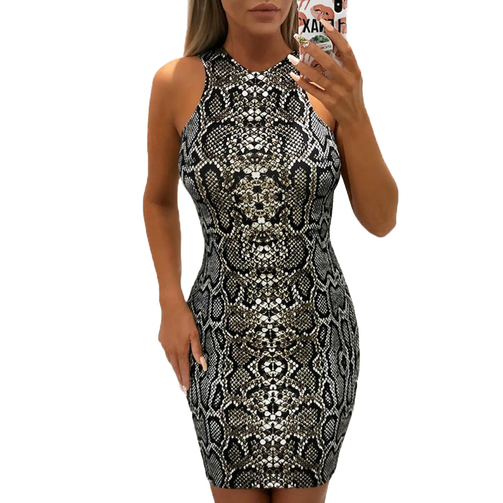 HTB1I8SabErrK1RkSne1q6ArVVXaA Women's Dresses Ladies Sexy Serpentine Print Sleeveless Dress Summer Dress Fashion sexy bodycon dresses woman party night 2019
