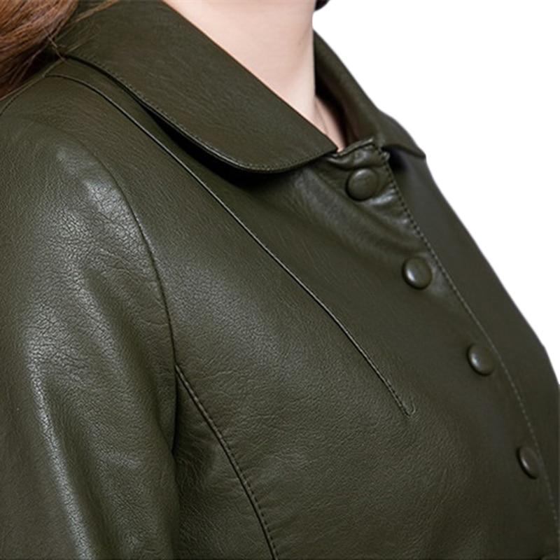 Mode Veste Femmes Green black En A233 Survêtement Cuir Taille Mince Moto Plus Long Printemps Automne Cool De Lavé Pu EIwx466q