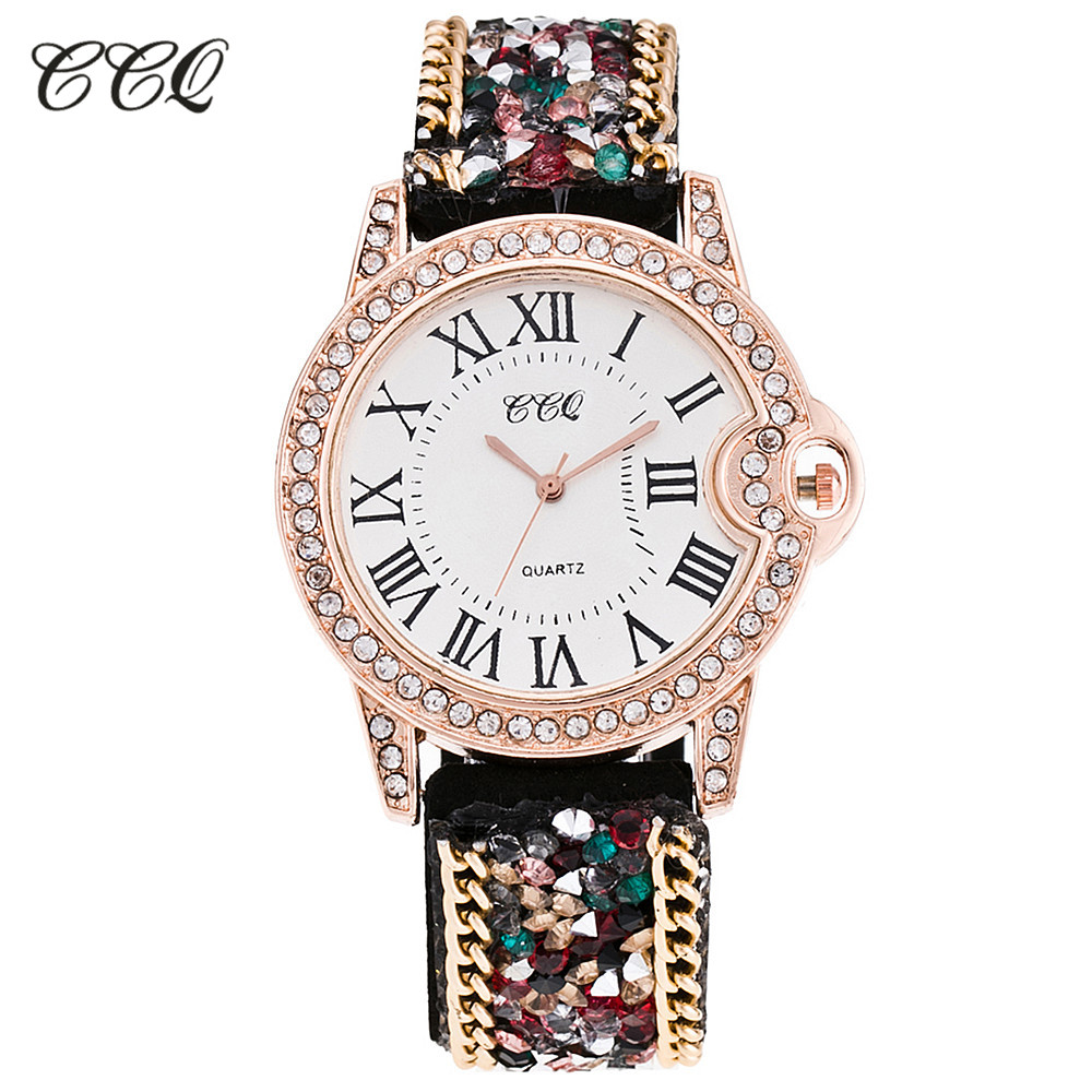 CCQ Luxury Brand Fashion Roman Rhinestone Leather Bracelet Watch Women Casual Quartz Wrist Watch Relogio Feminino Gift C13 protective pc case with 5400mah rechargeable lithium battery