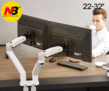 NB F195A Aluminum Alloy 22-32 inch Dual LCD LED Monitor Mount Gas Spring Arm Full Motion Monitor Holder Support with 2 USB Ports