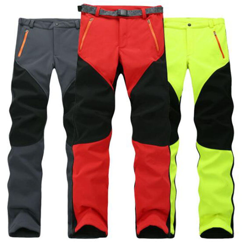 Outdoor Winter Men Thick Warm Fleece Hiking Pants Softshell Trousers Waterproof Windproof Thermal Camping Ski Climbing Plus Size
