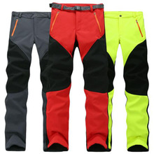 Outdoor Winter Men Thick Warm Fleece Hiking Pants Softshell Trousers Waterproof Windproof Thermal Camping Ski Climbing Plus Size refire gear winter spring warm fleece pants men women thick warm outdoor hiking camping fishing trousers sports s xxl pants