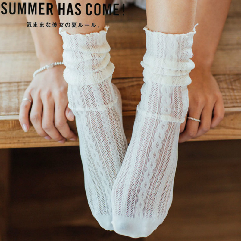 Harajuku Women Socks Cotton Soft Hollow Breathable Solid Colors Double Needles Knitting Skarpetki Women's Clothing Accessories
