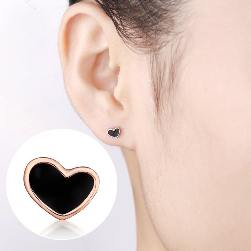 Nouveauté boucles d'oreilles pur coeur AU750 or Rose noir