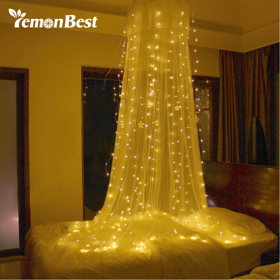 3 3m 300 led christmas lights outdoor indoor fairy curtain - Indoor string light decoration ideas ...