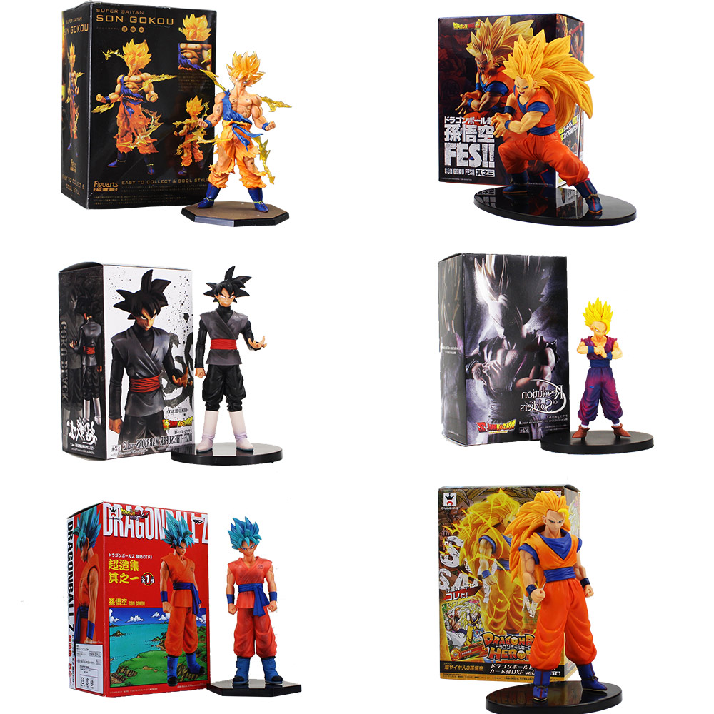 цены 15-18cm Anime Dragon Ball Z Son Goku Gohan Soldiers Resolution Goku Vegeta Super Saiyan PVC Action Figure Model Toys For Gifts