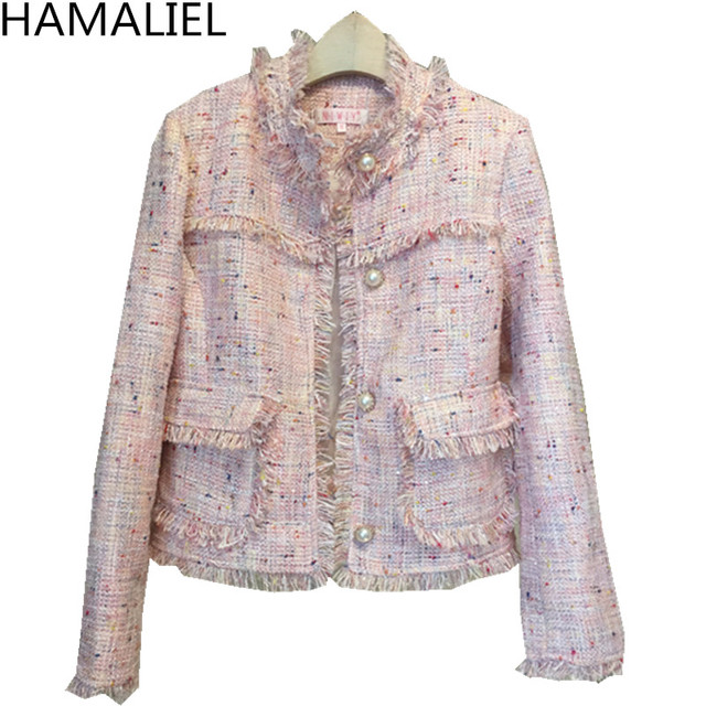 Autumn Winter Women Pink Tweed Coat New 2018 Runway Fashion Tassel Long Sleeve Single Breasted Ladies O Neck Small Jacket Coat