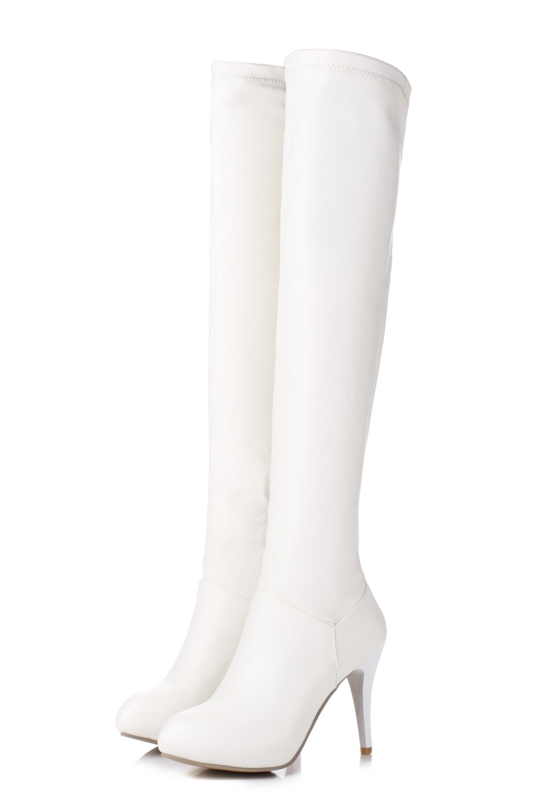 ФОТО Big Size 34-45 2017 Winter New High Heel Boots Leisure Elegant Heels Sexy Women Shoes Round Toe Thin Heel Leather Boots T601