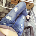Women Ripped Holes Jeans Summer 2016 New Fashion Brand Washed Plus Size High Waist loose Denim Pants jeans for women