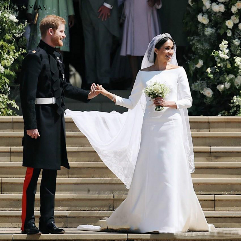 Princess Long Sleeves Wedding Dresses 2020 Simple Satin Bateau Neck Long Bridal Wedding Gowns Court Train