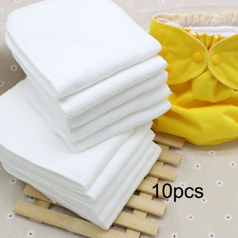 Baby Ecological Diapers Washable Diaper Insert 10pcs 3 Layer Microfiber Bamboo Inserts One Size Baby Pocket Cloth Nappy Diaper