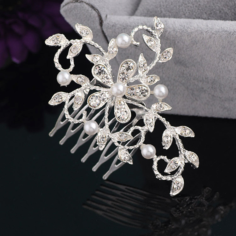 New high-quality pearl hair comb bridal hair ornaments fashion flowers silver crystal hair hairpin wedding dress women's girls