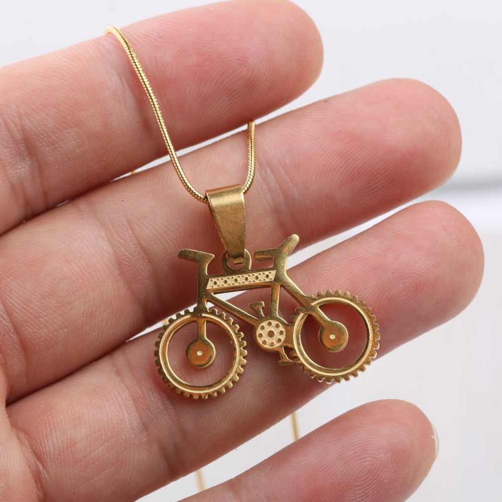 reidgaller stainless steel cute bicycle bike pendant necklace women fashion jewelry