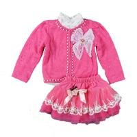 New Fashion Baby Girls Clothing Set 3pcs Lace Coat White T Shirt Flower Skirts Baby Clothes