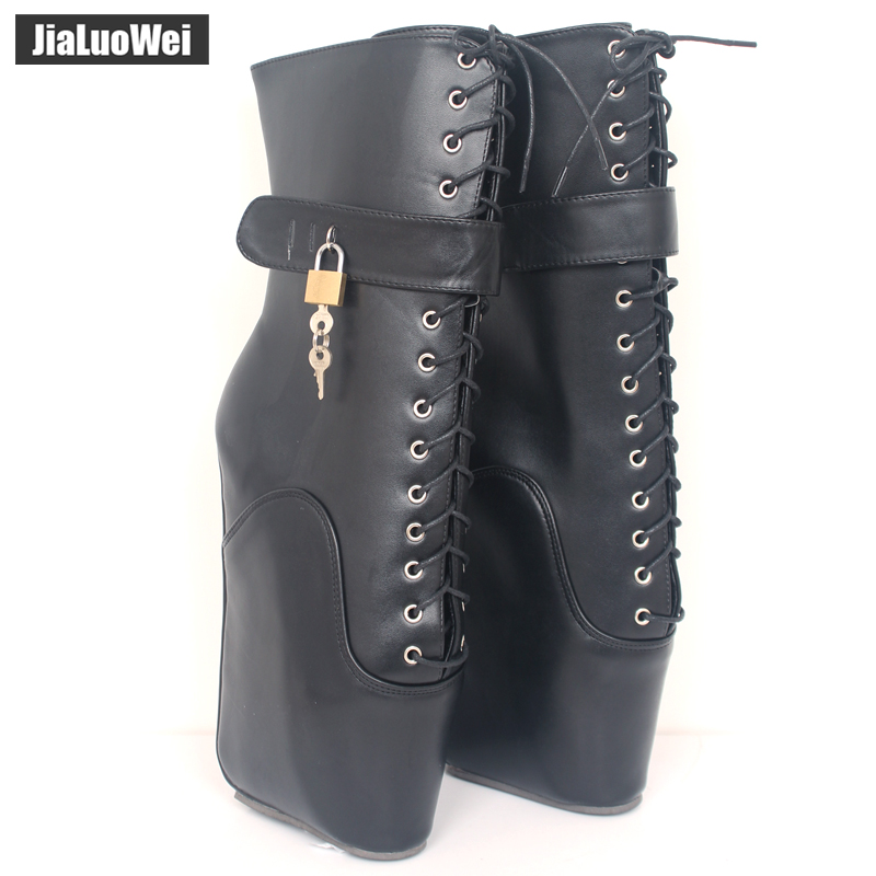 jialuowei New 18cm/7 Ultra High-heel Strange Wedges Sexy Fetish Ballet Boots Women Lace Up Lockable Ankle Boots With Padlocks jialuowei brand new high heel 7 18cm wedges heel ballet boots sexy fetish lace up patent leather knee high long boots plus size