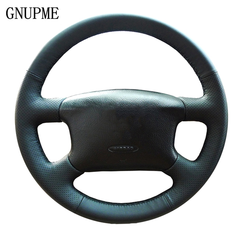 GNUPME DIY Hand-stitched Black Leather Auto Car Steering Wheel Cover for Volkswagen Skoda Octavia 1999-2005 Passat B5 VW Golf 4(China)