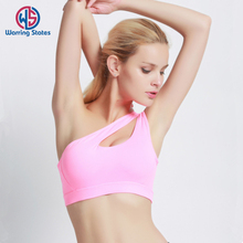 Sexy One Shoulder Solid Sports Bra Women Fitness Yoga Bras Gym Padded Sport Top Athletic Underwear Workout Running Clothing