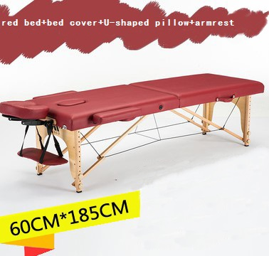 Image 3 - 185cm*60cm bed+bed cover+U shaped pillow+armrest, spa tattoo beauty furniture portable foldable massage bed salon massage table-in Massage Tables from Furniture
