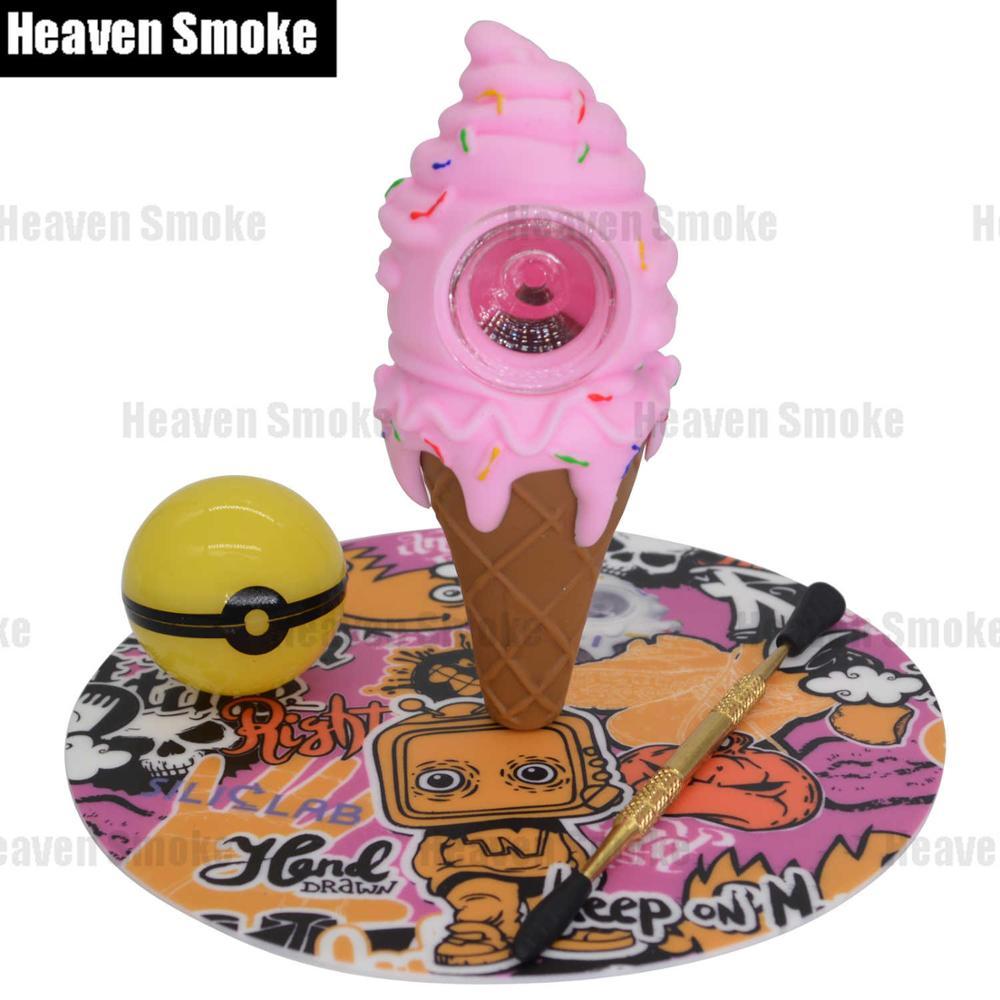 Pink! Ice Cream Cone Silicone Tobacco Pipe-