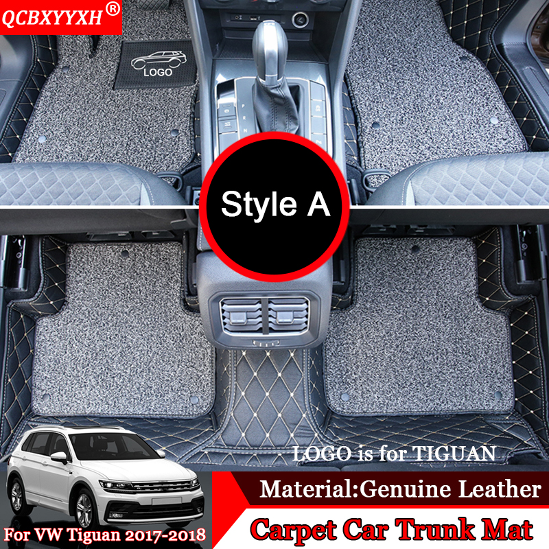 For VW Tiguan 2017 2018 Car-styling Auto Floor Mat Leather All Tray Carpet Cargo Liner Custom Fit Car Trunk Mat Carpet QCBXYYXH 3d trunk mat for peugeot 508 waterproof car protector carpet auto floor mats keep clean interior accessories