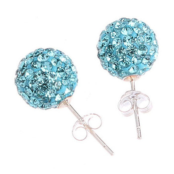 30 pairs/lot Mix Colors High Quality 10mm Crystal CZ Rhinestone Pave Disco Ball 925 Sterling Silver Stud Earrings SSCE008M