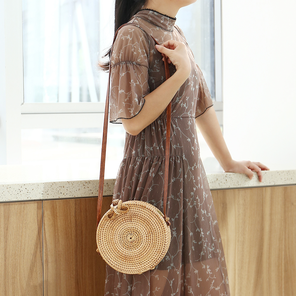Round Straw Bags Women Summer Rattan Handmade Woven Beach Sweet Nature Circle Bohemia Bali Single Shoulder Span