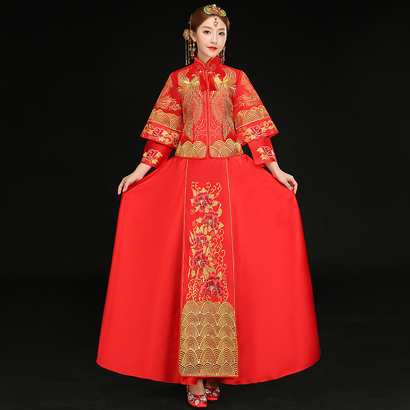 Oriental Bride China Wedding Dress Traditional Chinese Dresses For Women Long Qipao Cheongsam Red Phoenix Embroidery Vestido все цены
