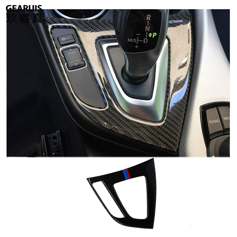 For F20 F21 <font><b>Carbon</b></font> Fiber Gear Shift Panel Cover Trim Console Decoration Strip Stickers for <font><b>BMW</b></font> 1 Series <font><b>116i</b></font> 118i Car Styling image