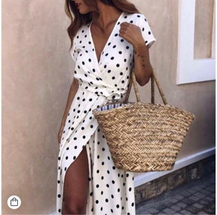 2019 New Women Summer Short Sleeve V neck Low Cut Polka Dot Print Split Long Dress Wrap Short Sleeve Beach Boho Party Maxi Dress in Dresses from Women 39 s Clothing