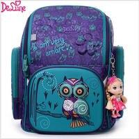 2017 Brand Delune New Girl School Bags 3D Cute Bear Flower Pattern Waterproof Orthopedic Backpack Schoolbag