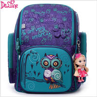 2017 Brand Delune New Girl School Bags 3D Cute Bear Flower Pattern Waterproof Orthopedic Backpack Schoolbag