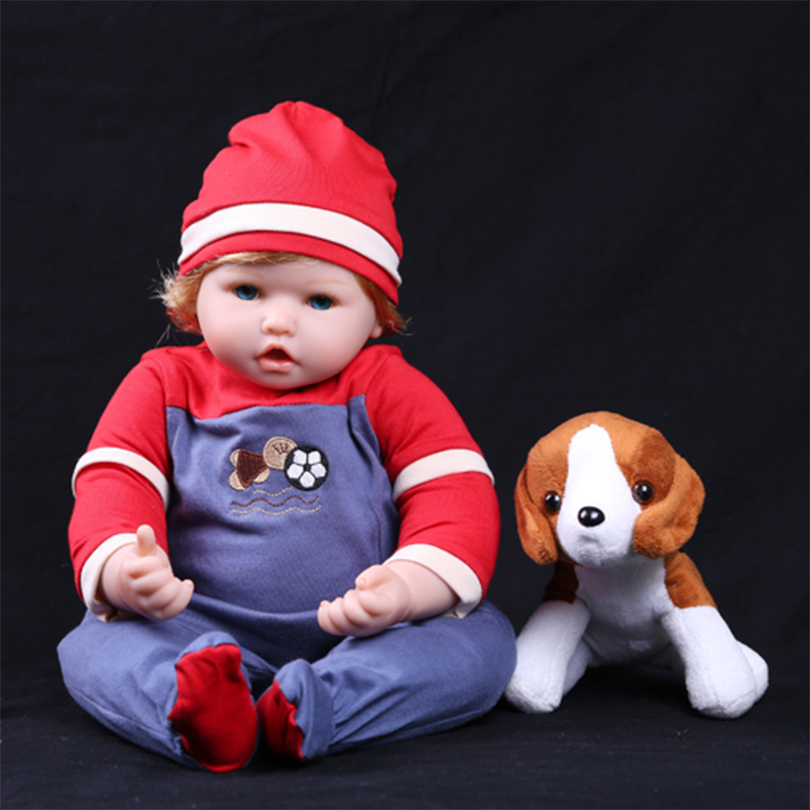 55cm Silicone reborn baby girl doll toy realistic newborn toddler babies doll bebe reborn girls bonecas with dog plush toy gift 55cm silicone reborn baby doll toy lifelike npkcollection baby reborn doll newborn boys babies doll high end gift for girl kid