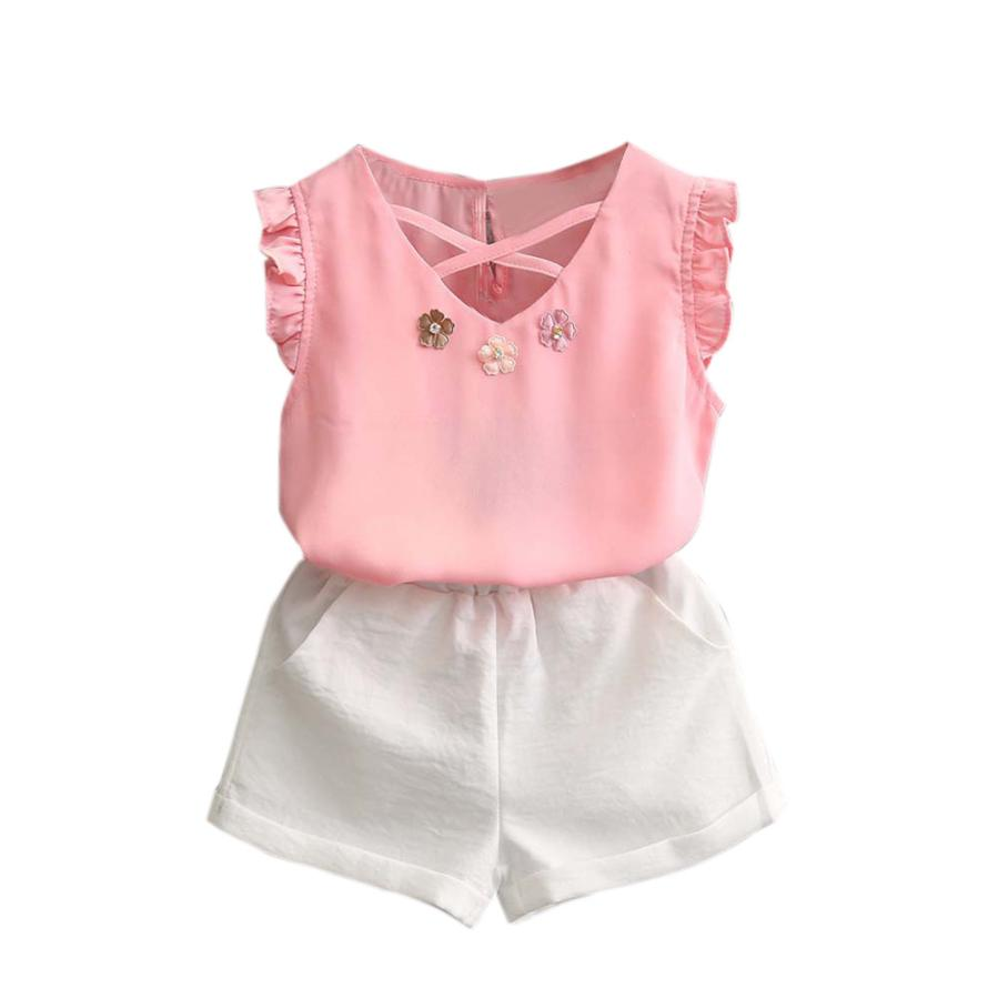 2PCS Toddler Baby Kids Girl Outfit Clothes Chiffon Vest T-Shirt+Shorts Pants Set flower sleeveless vest t shirt tops vest shorts pants outfit girl clothes set 2pcs baby children girls kids clothing bow knot