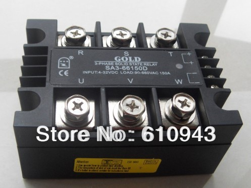 Free shipping SSR SA366150D three phase solid state relay  3ph 40-530vac or 60-990vac normally open single phase solid state relay ssr mgr 1 d48120 120a control dc ac 24 480v