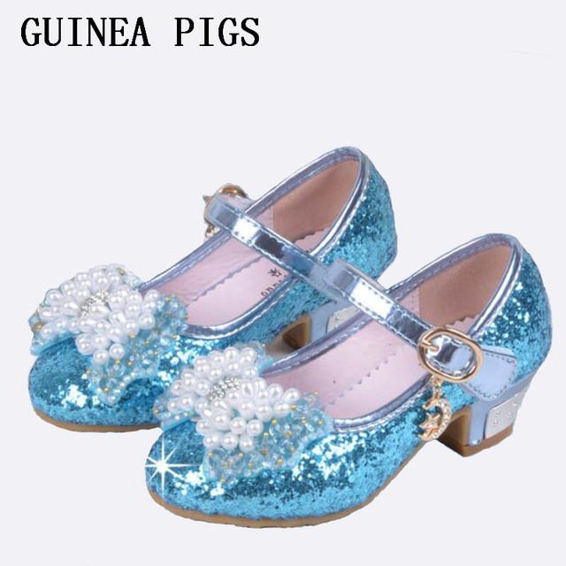 Muchacha Del Verano Del resorte zapatos de Tacón Alto de Cristal Partido de La Princesa Niños Zapatos de Cuero Sintético de La Perla Sandalias Calzado Para Chicas Rosa de Plata Azul