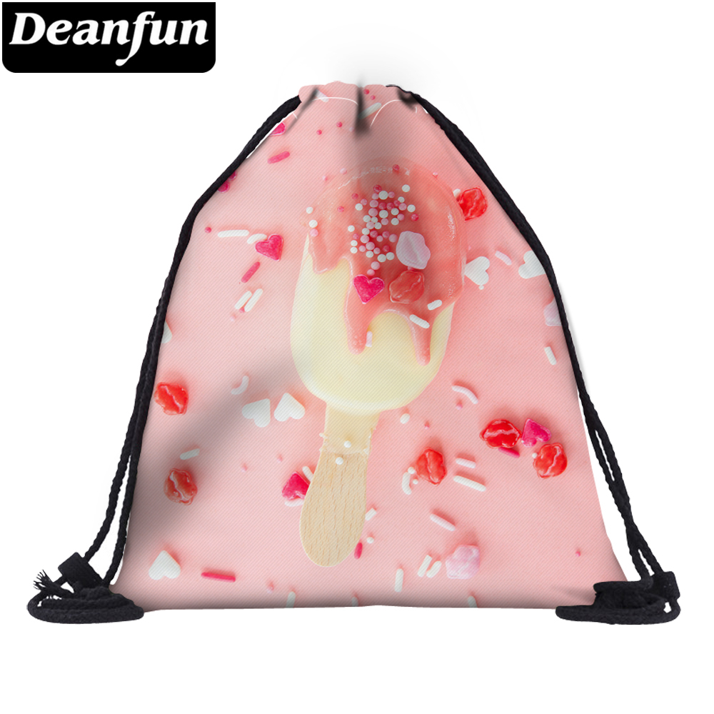 Deanfun 3D Printed Drawstring Bag Ice Cream Pink Cute Gift For Girls Travelling Summer  60114 #