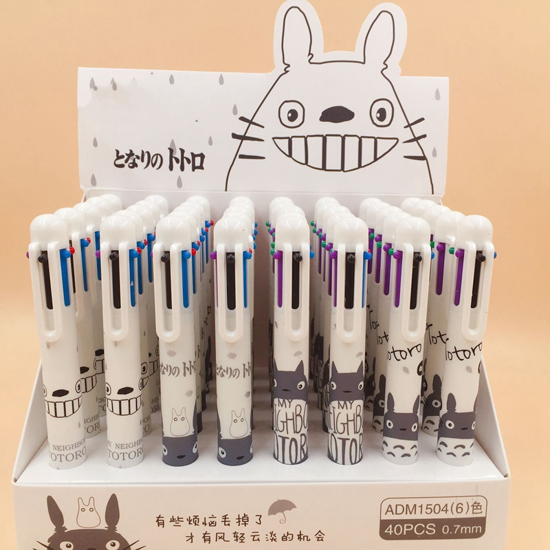 40Pcs lot Cartoon Totoro 6 Color Ballpoint Pen Kawaii Ball Pen For Kids Gift Promotion Material