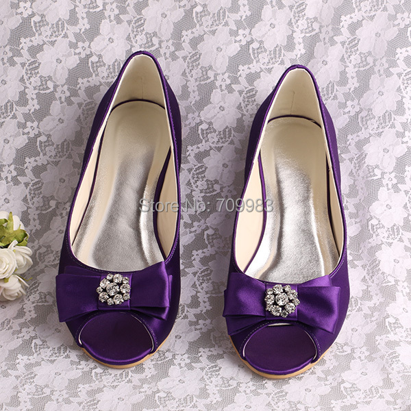 3551acb056e7 Brand Name Dark Purple Flat Shoes Bridesmaid Open Toe (20 Colors) Bow Shoes-in  Women s Flats from Shoes on Aliexpress.com
