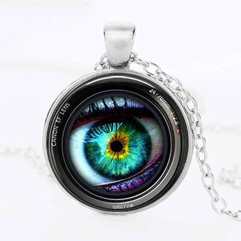 Eye in a Camera Lens Photographer Fashion Necklace brass silver Pendant steampunk Jewelry Gift women new chain toy mens