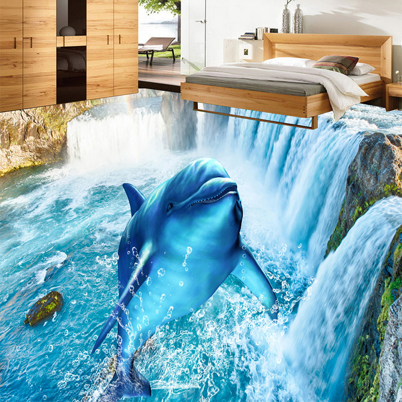 3D Wallpaper Modern Waterfalls Dolphin Floor Tiles Murals Sticker Living Room Bedroom PVC Waterproof Self Adhesive Wallpaper 3 D