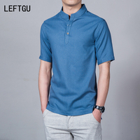 HOT 2016 Fashion Short Sleeve Men S Shirts Male Solid Linen Camisas 7 Colors DX155 Asian