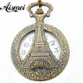 Vintage Eiffel Tower Flower Hollow Pendant Bronze Tone Cable Chain Pocket Watch Pendant Necklace 80cm