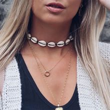 Women's shell necklace Natural Seashell summer beach Choker Necklace Collar rope chain Concha Bohemian fashion jewely girl gift(China)