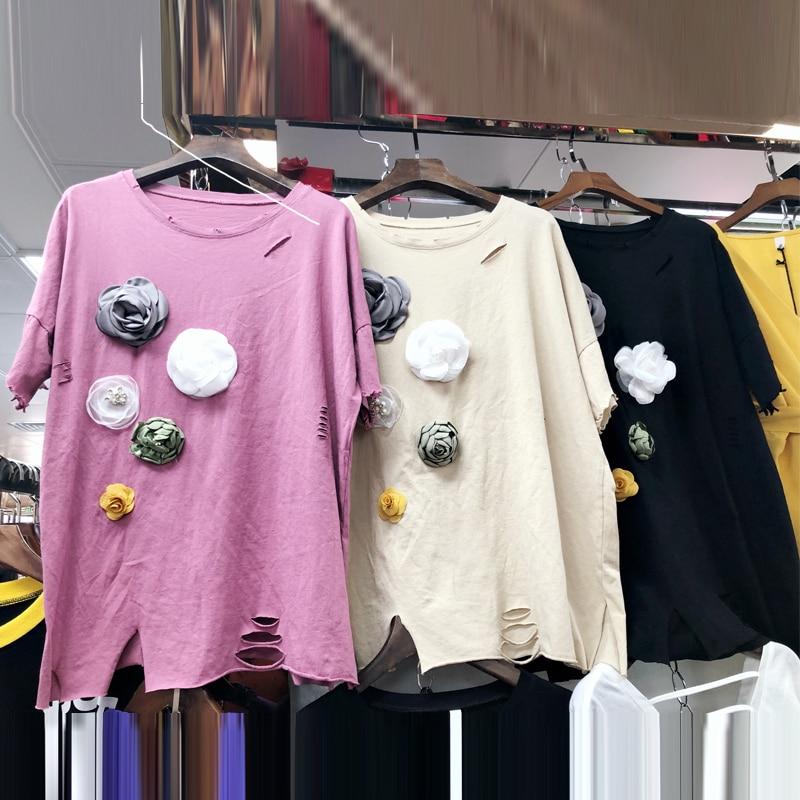 Koreaanse 3D-bloemenapplicaties Gaten T-shirts dames 2018 Nieuwe - Dameskleding