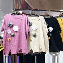 Koreai 3D-s Floral Appliques lyukak Női pólók 2018 Új nyári nyakú nyak minden Match Femme pulóver Loose Short Sleeve Női Top