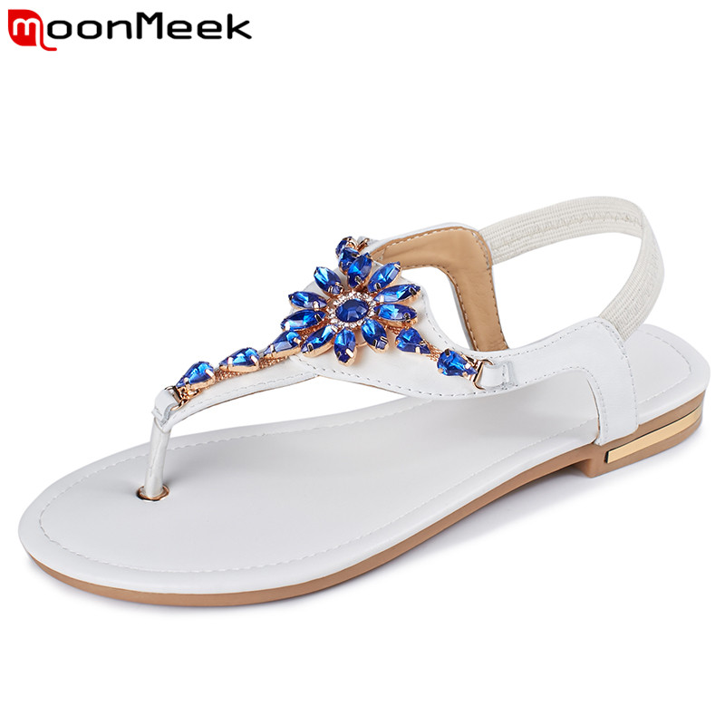 MoonMeek Plus size Genuine leather women sandals solid color rhinestone flat summer sandals ladies flip flops fashion shoes goxpacer arrival fashion sandals rhinestone flats bohemia women summer style shoes women flat flip flops plus size 35 41