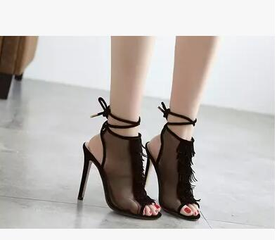 Newest Design 2017 Women Summer Peep Toe lace up Hand Made lace Hollow out party sandals High Heels Fashion Shoes