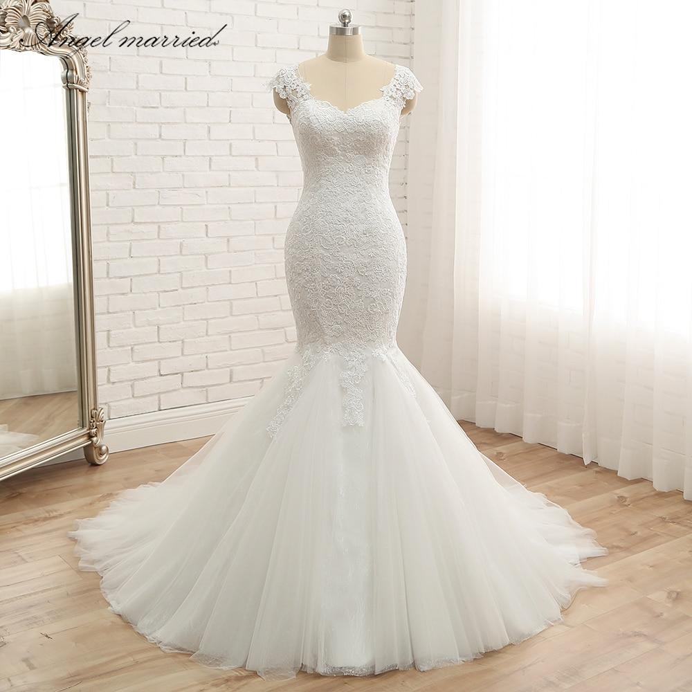 Ange marié trompette robes De mariée 2019 appliques dentelle sirène cap manches Vestido De Noiva Tulle robe De mariée robe De mariée