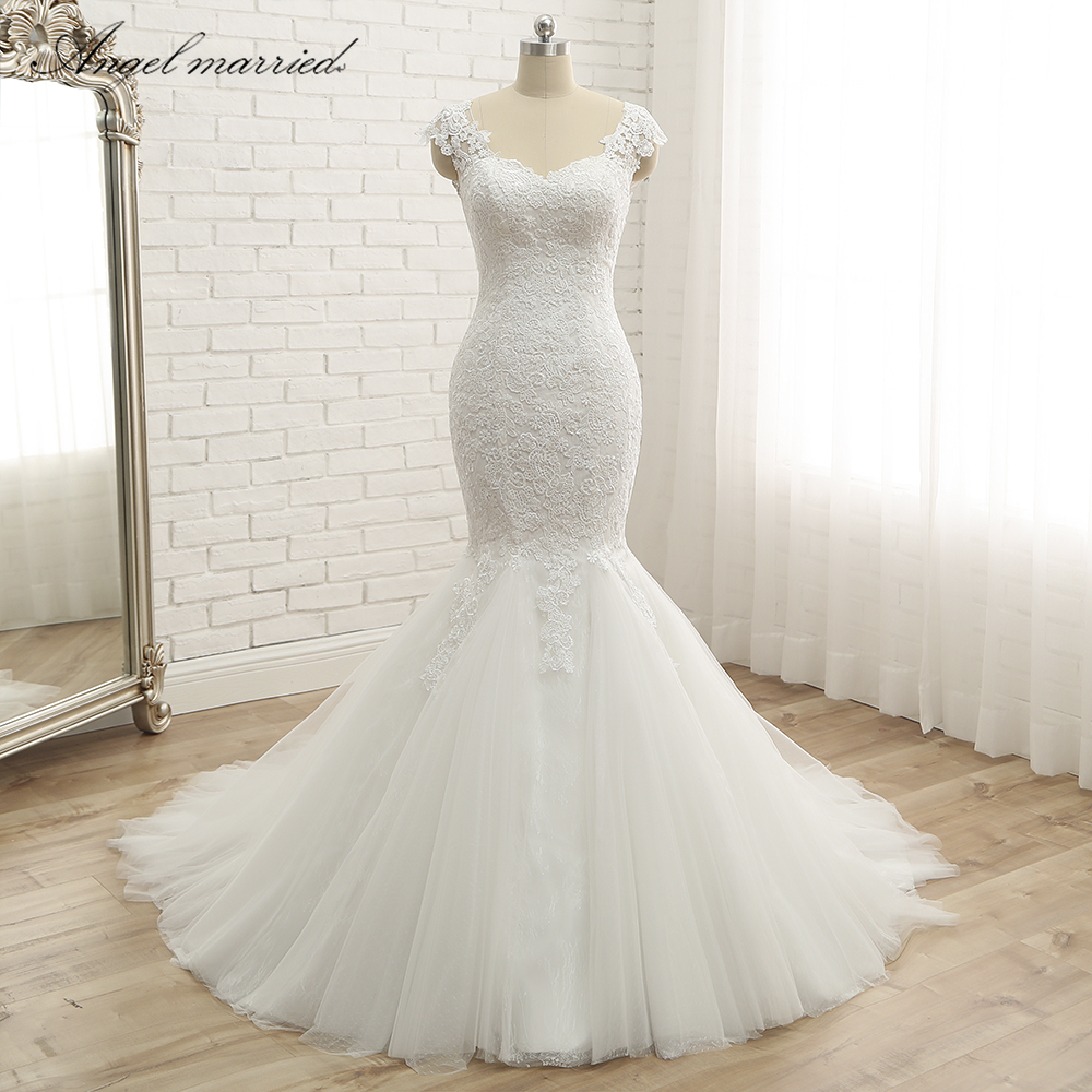 Trumpet Wedding Dresses 2019: Angel Married Trumpet Wedding Dresses 2019 Appliques Lace